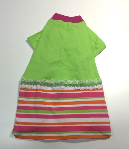 Green Tee Dress with Striped Skirt - Small