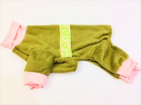 Brown With Pink and Green Camo Fleece Pet Jammies - Roomy Assorted Sizes