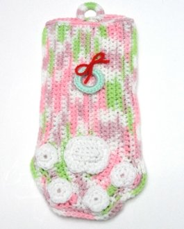 * Pink and Green Paw Stocking with Wreath