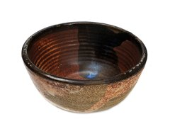 small bowl reddish brown interior, brown and white exterior