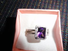 Solid.925 Sterling Silver 1.95ct Amethystand white Sapphire Ring