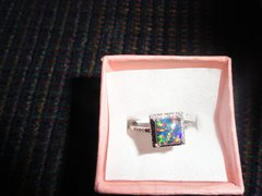 Solid Sterling Silver, 0.75ct Fire Black Opal and white Sapphire Ring