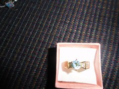 18K Gold with Genuine Blue and white Topaz