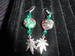 Geniuine Green swarkowski crystals and stones marijuana leaf