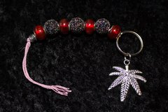 Marijuana Keychain/red and black speckled beads