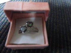 Lingmei Heart cut Rainbow and white topaz size11 ring