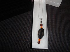 Sterling Silver w/brown agate sweater necklace