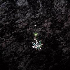 Belly Jewelry Green Marijuana Leaf