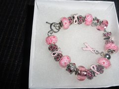 Sterling Silver/Murano Glassand Crystal Pink charm Bracelet