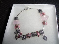 new mixed charms Murano glass and European design charms pink bracelet