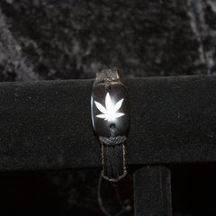 Marijuana Leaf Bracelet, Black