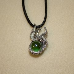 """20"""" Pewter Phoenix Necklace with Suede Cord"""