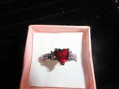 Antique 10K Black Gold filled Heart Red Ruby & Chrystal Engagement ring