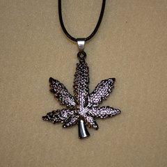 """20"""" Titanium Steel Marijuana Leaf Neckace with Leather Cord"""