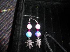 Sterling silver breast cancer marijauna leaf earrings
