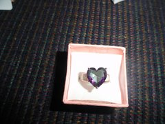5.10 ctw Genuine Mystic topaz, and white opal ring