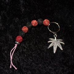 Marijuana Keychain/Red and black net beads