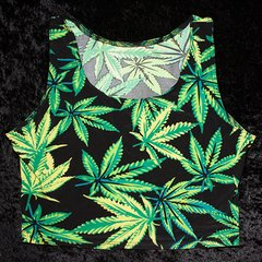 Womens Marijuana Leaf Crop Top