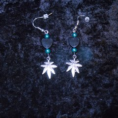 Marijuana Leaf and Heart Earrings