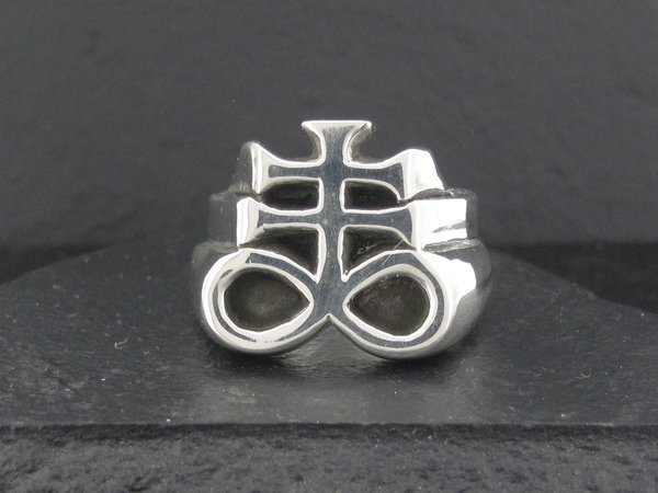 Satanic Cross Ring Alfred Albrizio Inc Sterling Assault