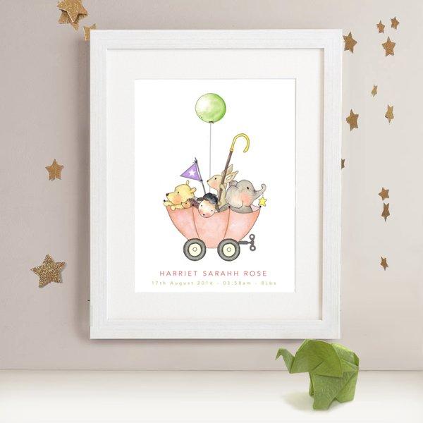 Personalised Balloon Adventure Nursery Print Circus