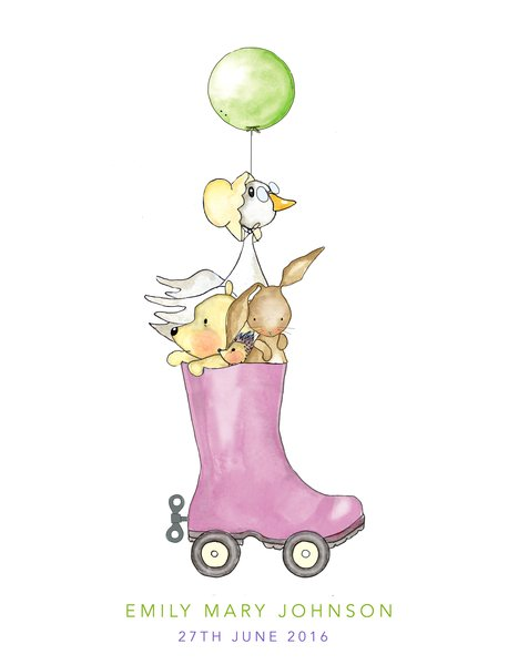 Personalised Clockwork Welly Boot Ride Nursery Print