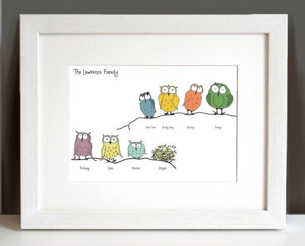 Personalised Owl Animal Family Name Portrait Print Corkymandle Co Uk