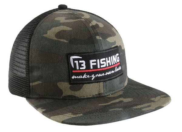 13 fishing original brochacho camo flat bill snapback for Flat bill fishing hats