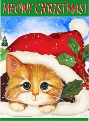 "Cat with a Santa hat House Flag for Christmas 28""x40"""