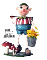 "G162 16.5"" x 11"" x 26""H BOY WITH FLOWER BUCKET SOLAR LIGHT"