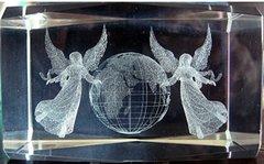 AIE LASER CUT CRYSTAL ANGEL W/ GLOBE