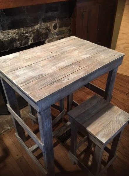SOLD  103 Pub Table Distressed Wood Coastal 3 pc. SOLD  103 Pub Table Distressed Wood Coastal 3 pc   Peddler s Mill