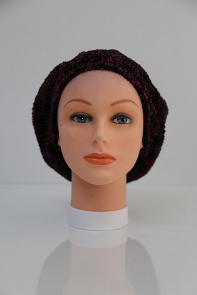 Chenille Shadow LINED Snood-Black & Maroon(AT05BML)