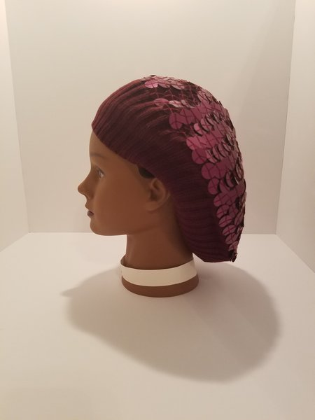 Large Sewn Down Sequin Knit Snood-Maroon (AT31MRU)