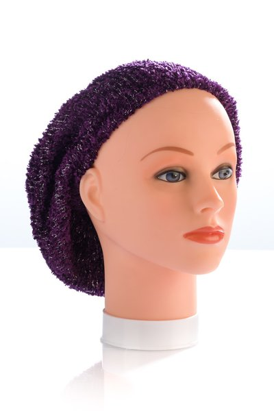 Chenille UNLINED Snood-Plum with Silver Streaks (AT01PLU)