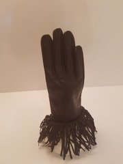 Fringed Leather Gloves (AT44BKF)