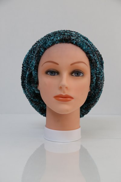 Chenille Shadow UNLINED Snood-Grey & Teal (AT05GTU)