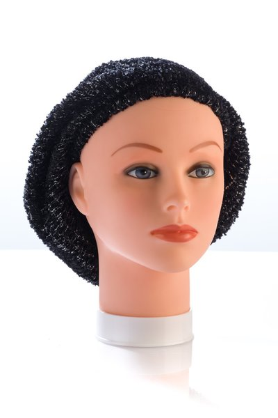 Chenille UNLINED Snood-Black with Silver Streaks (AT01BKU)