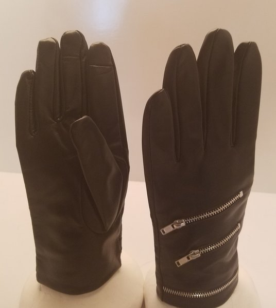 Black Leather Gloves with multipule Fashion Zippers (AT44BLZ)