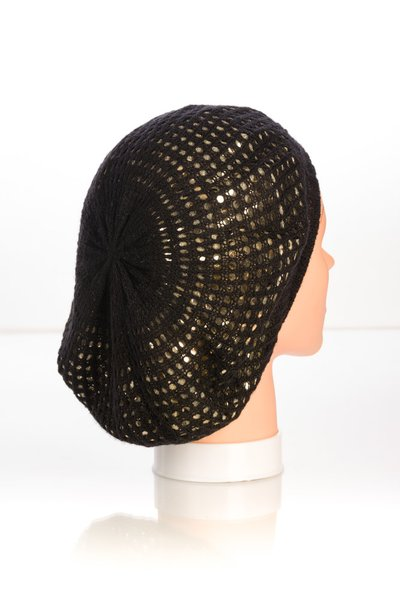 Metallic Knit Snood-Black with Gold Lining (AT10BGL)