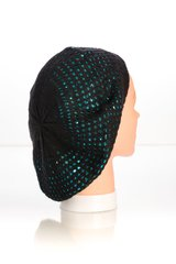 Metallic Knit Snood-Black with Teal Lining (AT10BTL)