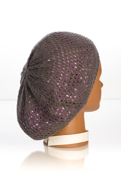 Metallic Knit Snood-Grey with Pink Lining (AT10GPL)