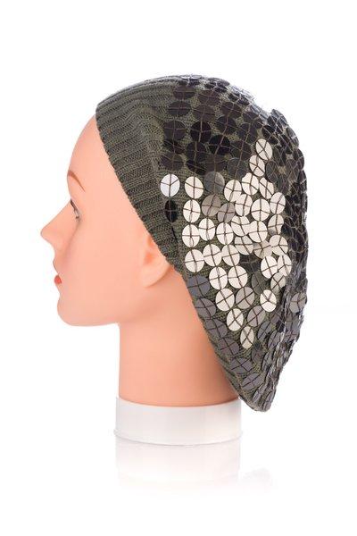 Large Sewn Down Sequin Knit Snood-Grey (AT31GYU)