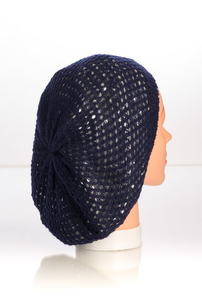 Metallic Knit Snood-Navy with Silver Lining (AT10NSL)