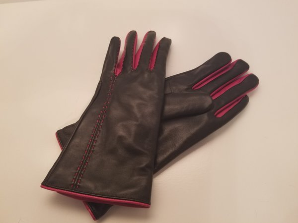 Black and Pink Leather Gloves (AT44BPL)