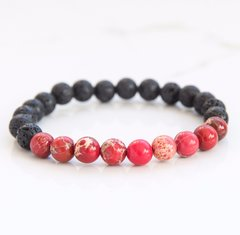 Red Imperial Jasper & Lava Stone diffusing bracelet