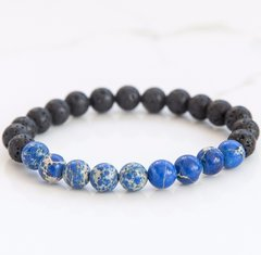 Blue Imperial Jasper & Lava Stone diffusing bracelet