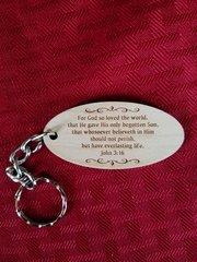 Wood engraved key chain