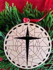 Wood Cross Christmas ornament with geometric design