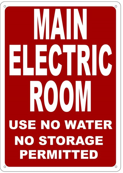 MAIN ELECTRIC ROOM USE NO WATER NO STORAGE PERMITTED SIGN (NYC ...